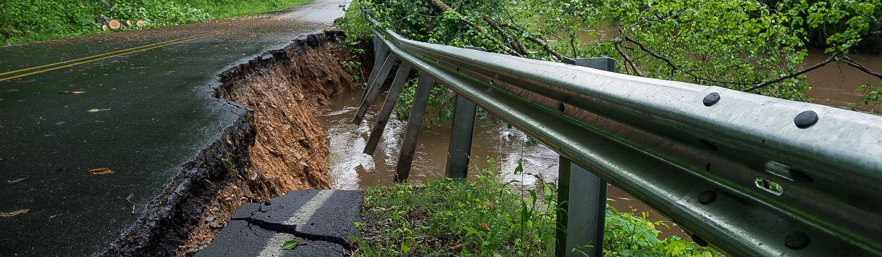 Wilson Road collapse due to flooding
